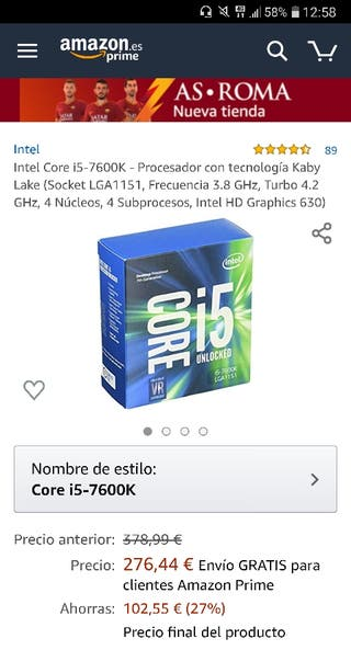 Intel i5-7600k + Placa base MSI z270 Gaming