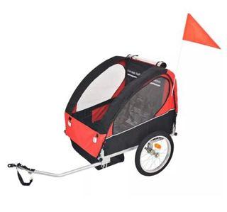 Remolque de bicicleta para niños rojo y negro