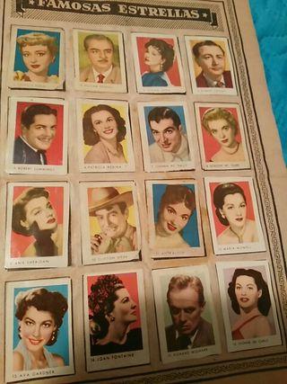 antiguo album de cromos de artistas de cine