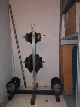 pesas, discos, barra