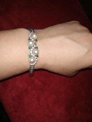 pulsera de plata esmeraldas y perlas años 60