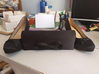 Juego zapato y bolso de fiesta Negro