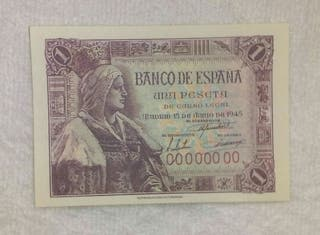 Facsimil/Billete Una peseta (1945)