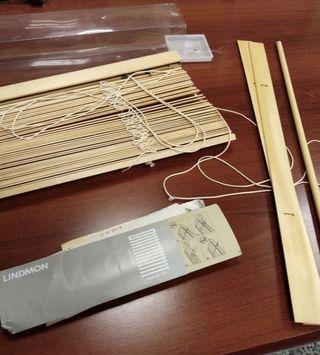 Cortina estor lamas madera Ikea sin uso
