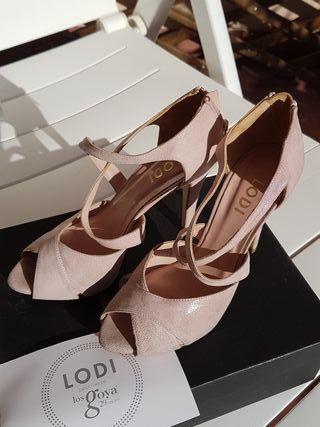 zapato sandalia Lodi rosa claro novia