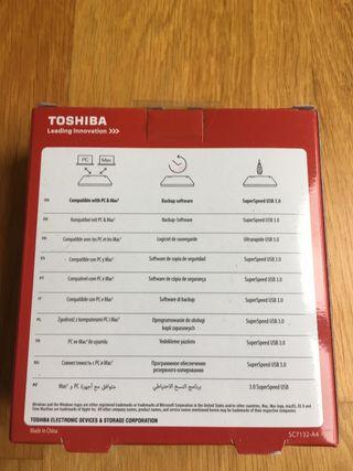 Disco duro de 1 TB - Toshiba. Nuevo. Azul