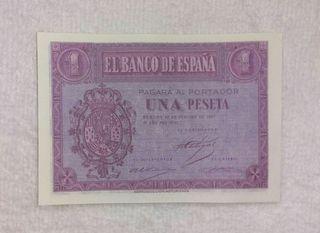 Facsimil/Billete Una peseta (1937)