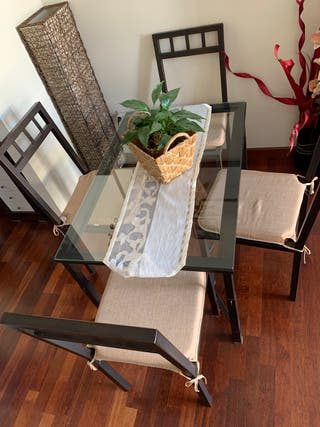 Mesa de forja y 4 sillas de forja