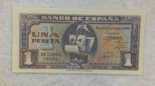 Facsimil/Billete de Una peseta (1940)