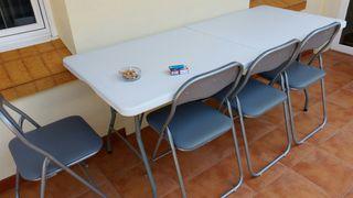 conjunto mesa y sillas plegables