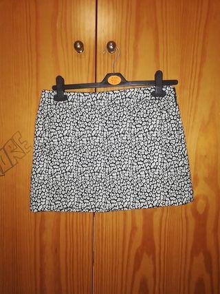 Minifalda Mango Blanco y negro
