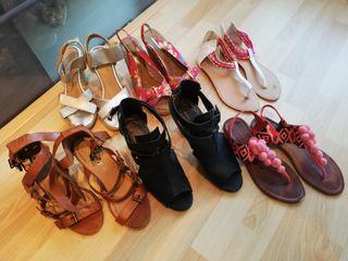 lote, tacones y sandalias