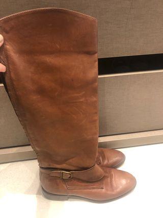 Botas piel marrón Massimo Dutti