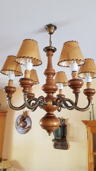 Lámpara pino y metal