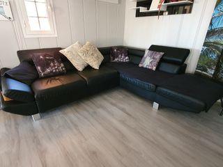 Sofá chaise lounge negro. Sofá cama. Reclinable