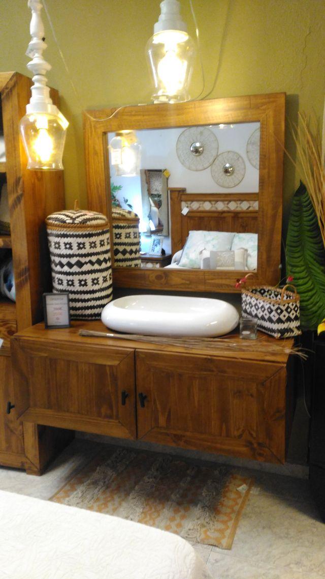 Mueble baño rústico madera