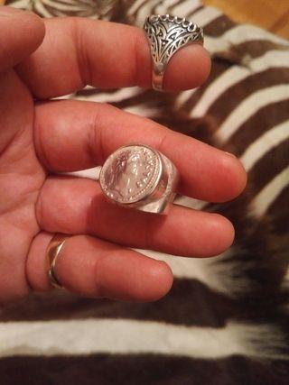 Anillo plata denario auténtico echo en joyería