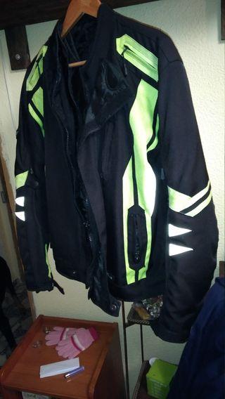 chaqueta para moto, negra fluor talla m