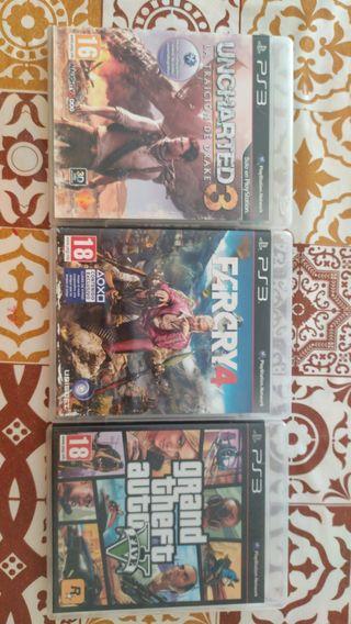 videojuegos ps3 gta, farcry4 y uncharted3