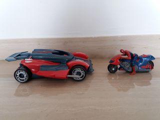 juguete coche de spiderman + moto