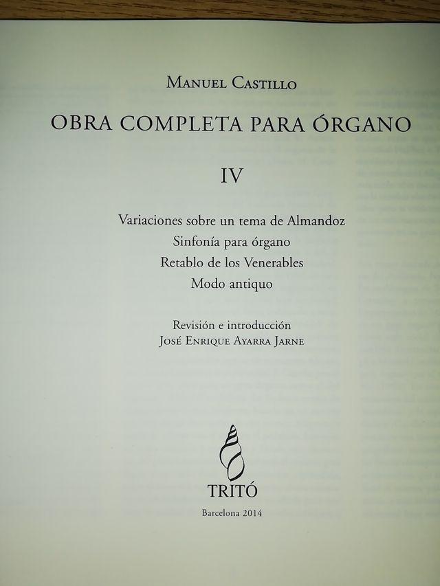 Obras completas IV para órgano de Manuel Castillo