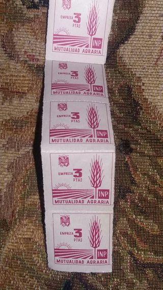 10 sellos de mutualidad agraria 1960