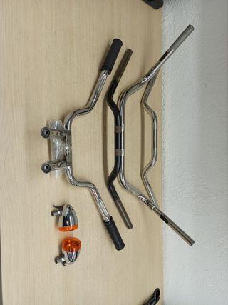 Kit de 4 manillares Harley + puños + retrovisores.