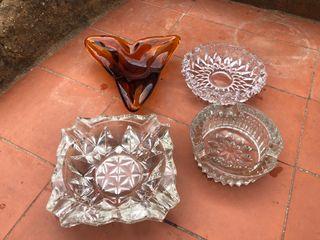 4 ceniceros vintage de cristal