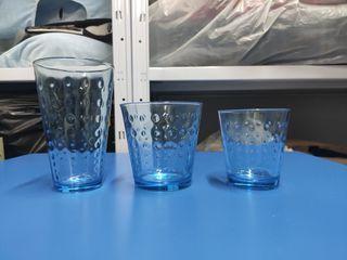 vasos cristal azulado