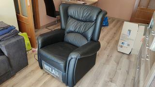 Sillón reclinable eléctrico piel negro