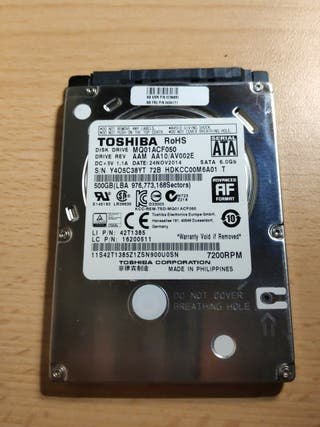 """Disco duro TOSHIBA SATA 500GB 2.5"""""""