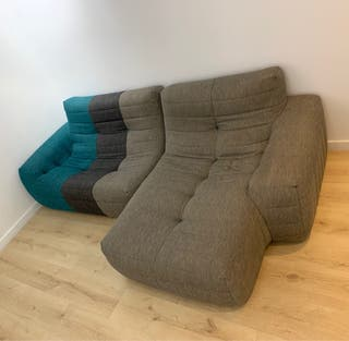 Sofá con chaiselong Oruga gris