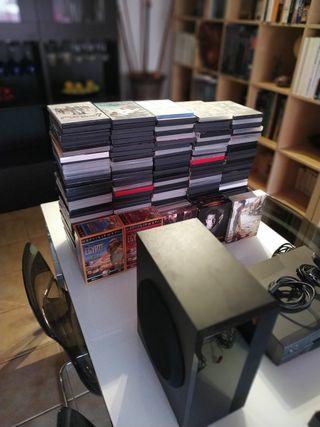Reproductor de dvd y otro de cassettes con 150 dvd