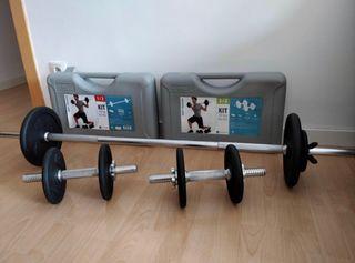 Kit de pesas y barras de musculación 30kg