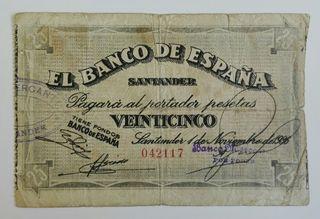 25 pesetas de 1936 Santander