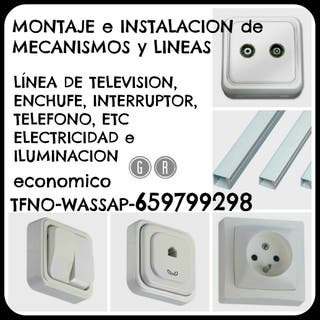 SOPORTE TELE PARED-LINEA DE TV Y ENCHUFES