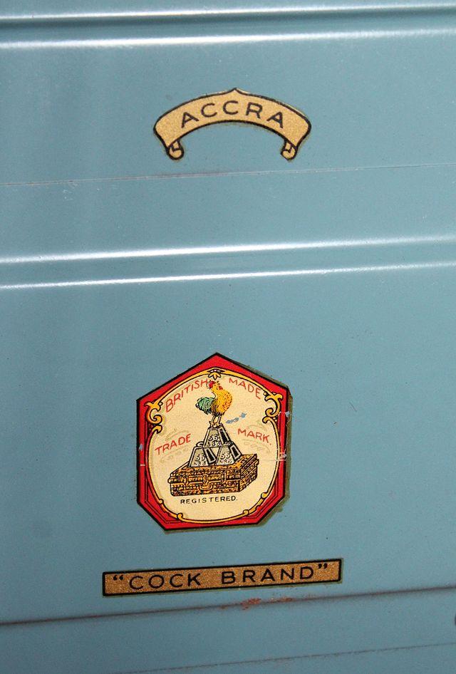 Antiguo / Vintage BAÚL METÁLICO azul 100% Original