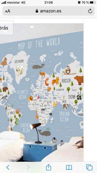 Mapa mundi infantil papel pintado.