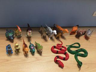 Colección completa de 17 Animales, Dinosaurios...