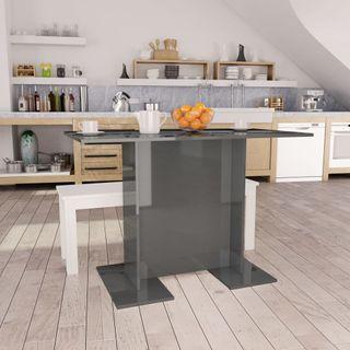 Mesa de comedor gris brillante 110x60x75 cm