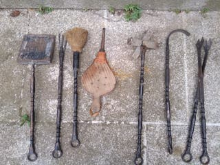 herramientas chimenea barbacoa antiguos