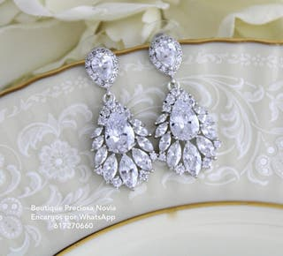 Pendientes de novia en color plata ,oro rosa joya