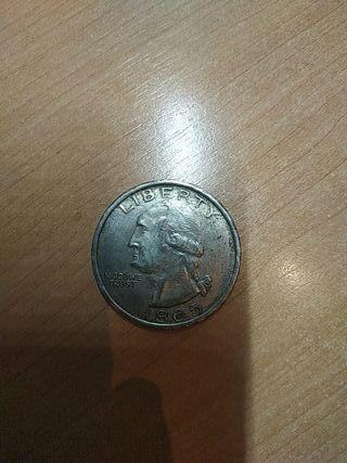 Moneda de 1 dólar americano correspondiente a 1865