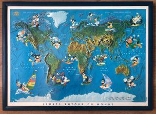 Cuadro infantil Mapa Mundi Disney