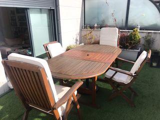 Conjunto Mesa Jardín con 4 asientos