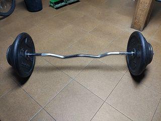 Discos o Pesas de musculación o fitness y barra Z