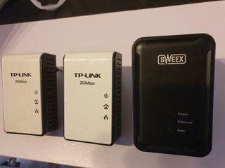 Adaptadores PLC 200mbs. 3 Unidades.