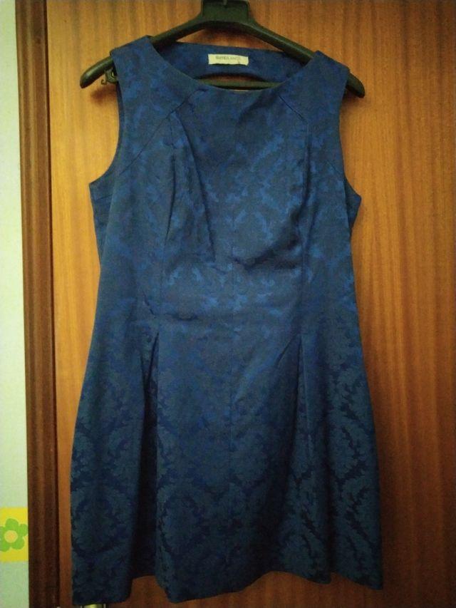 vestido azul brocados Blanco