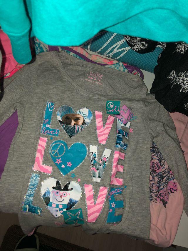 Pack 5 camisetas niña +2 falda-shorts(talla xl)