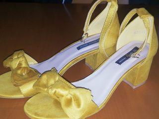Zapatos mujer tacón amarillos